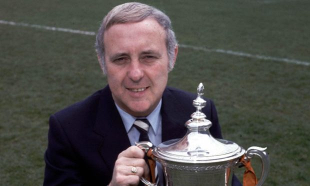 Jim McLean with the league trophy after winning title with Dundee United.