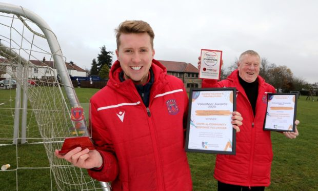 Dundee West Football Club's Tam McCabe and Jim Hunter with their awards.
