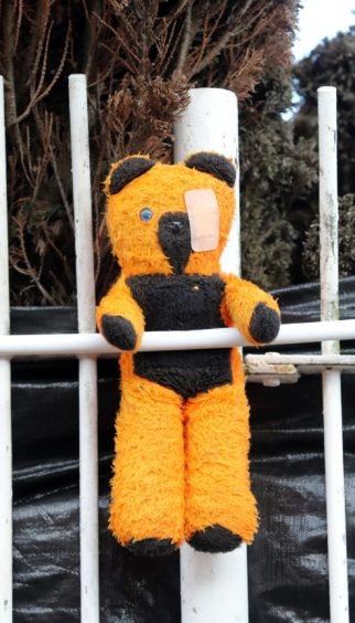 A teddy left in tribute.