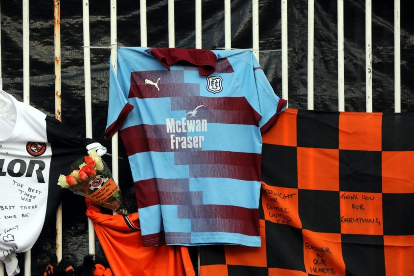 A Dundee FC shirt in amongst the items left at Tannadice.