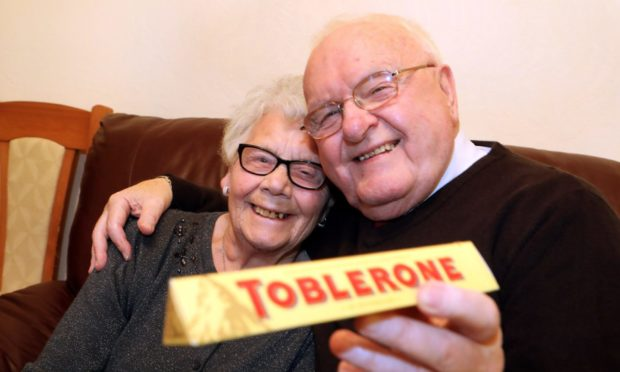 Sweets for my sweet: John and Phyllis met working on the Toblerone line at Keiller's factory in Dundee.