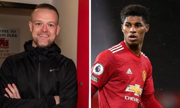 Broughty Athletic boss Jamie McCunnie and Manchester United striker Marcus Rashford.