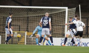 Cammy Smith opens the scoring for Ayr against Dundee in November.