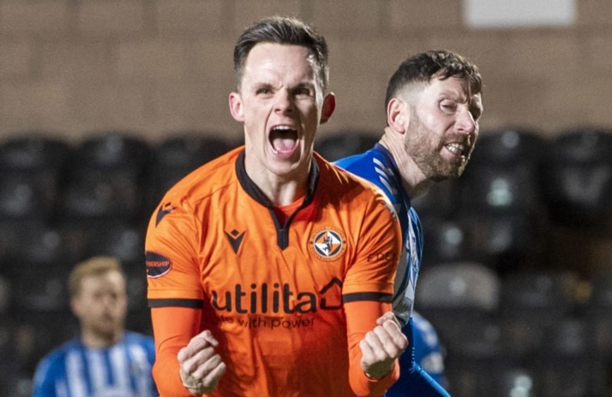 Lawrence Shankland celebrates scoring for Dundee United against Kilmarnock.