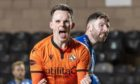 DUNDEE, SCOTLAND - DECEMBER 23: Dundee United's Lawrence Shankland celebrates making it 2-0 during a Scottish Premiership match between Dundee United and Kilmarnock at Tannadice, on December 23, 2020, in Dundee, Scotland. (Photo by Ross Parker / SNS Group)