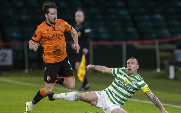 Marc McNulty in action against Celtic.