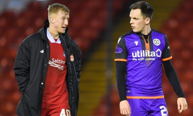 Lawrence Shankland, right, chats with Aberdeen's Ross McCrorie at full-time.