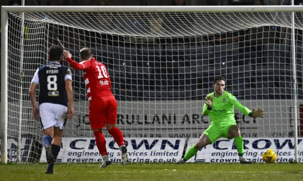 Lee Currie scores to make it 1-0 to Bonnyrigg Rose against Dundee.