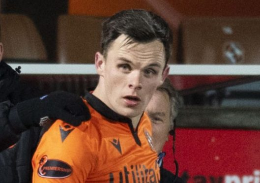 DUNDEE, SCOTLAND - JANUARY 12: Dundee United's Lawrence Shankland celebrates making it 2-2 during the Scottish Premiership match between Dundee United and St Johnstone at Tannadice Park on January 12, 2021, in Dundee, Scotland. (Photo by Ross Parker / SNS Group)