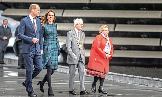 Mrs Borthwick with her husband and the Earl and Countess of Strathearn, William and Kate, who offcially opened the V&A in 2019.