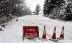 The Dundee to Glamis road closed because of snow on Thursday, January 14.