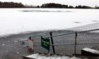 Clatto Reservoir frozen warning