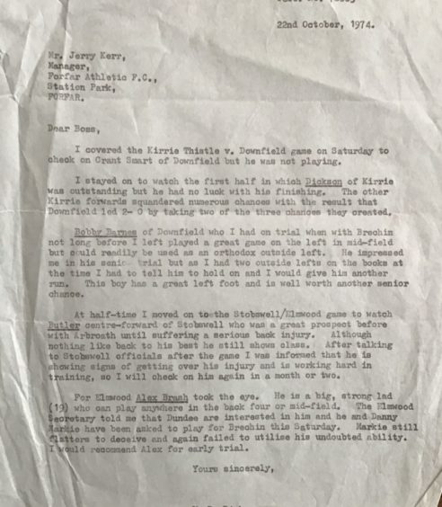 Kenny Dick scouting letter to Jerry Kerr.