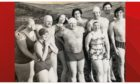 Phyllis Sullivan, (pictured on the left of the back row), with other swimmers on New Years Day 1975.