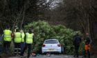 Ross Nicholson had to crawl to safety after a tree collapsed on the car. (Picture: Mhairi Edwards/DCT Media)