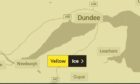 A weather warning for ice has been put into place across Tayside and Fife