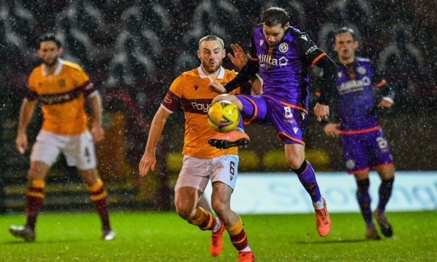 Dundee United midfielder Peter Pawlett in action at Motherwell.