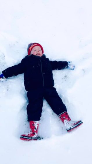 Brody Laing, 2, loving the snow in Dundee.
