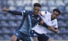 Malachi Fagan-Walcott grapples with Raith Rovers striker Timmy Abraham.