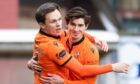 Lawrence Shankland (L) celebrates his goal to make it 2-0 against Livingston.
