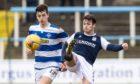 Dundee's Danny Mullen challenges Morton man Luca Colville.
