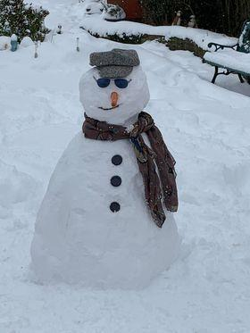 A Grandad snowman made by Katie Murray aged 9 from Arbroath.