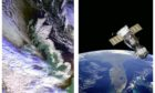 Left, an image of the UK's February snowstorm collected by the Errol station, and right, a satellite in orbit.