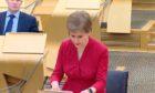First Minister Nicola Sturgeon addressing Holyrood on February 23, 2021.