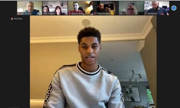 Marcus Rashford with just some of the Zoom attendees.