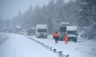 Heavy snow causing traffic difficulties on the A9 in January 2021.