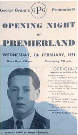 George Grant Jr pictured on the front of Premierland programme.