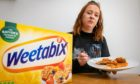 Reporter Amy Hall trying out the Weetabix challenge