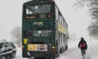 The number 17 bus stranded on Arran Drive.