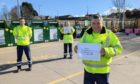 John Mackay, Robert Butter and Steven Moody at Forfar Recycling Centre.
