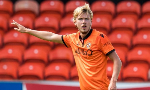 DUNDEE, SCOTLAND - JULY 18: Kieran Freeman in action for Dundee United during a friendly match between Dundee Utd and Livingston at Tannadice, on July 18, 2020, in Dundee, Scotland.