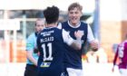 Max Anderson (right) celebrates his recent goal against Arbroath.