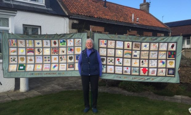 Elizabeth Bracher and the amazing quilts.