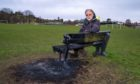 Leslie Community Council chairman, John Wincott, at the scene of of the latest deliberate fire.