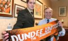Lee Mair with Dundee United chairman Eddie Thompson after signing up at Tannadice in 2005.
