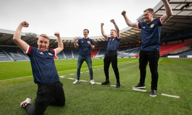 Open Goal stars Paul Slane, Andy Halliday, Si Ferry and Kevin Kyle at Hampden.