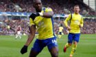 Everton's Yannick Bolasie celebrates scoring his side's first goal of the game during a Premier League match at Turf Moor, Burnley.