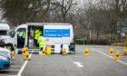 Mobile Covid testing units set up in Fluthers Car Park, Cupar.
