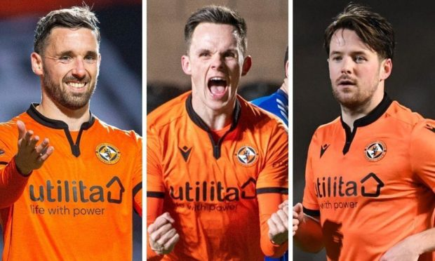 Dundee United strikers Nicky Clark, Lawrence Shankland and Marc McNulty.