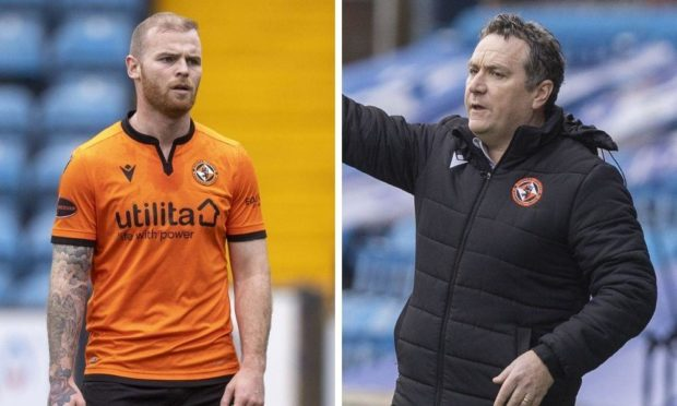 Dundee United defender Mark Connolly and manager Micky Mellon.