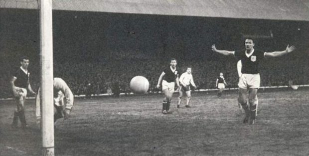 Dundee v Anderlecht, March 13, 1963.    Cox, Wishart and Smith look on as an Anderlecht shot goes just wide.