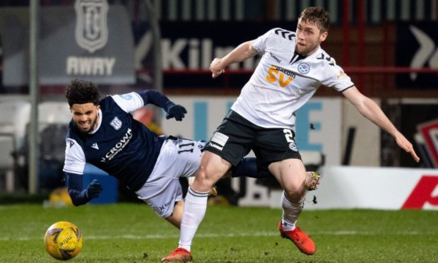 Declan McDaid in action in Dundee's 3-1 defeat to Ayr United last month.