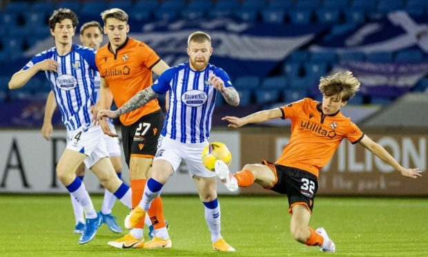 Dundee United youngsters Archie Meekison (right) and Louis Appere in action against Kilmarnock last night.
