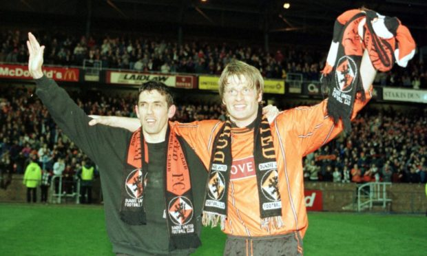 Former Dundee United defender Brian Welsh (right) celebrates promotion to the Premier Division in 1996 with team-mate Owen Coyle.