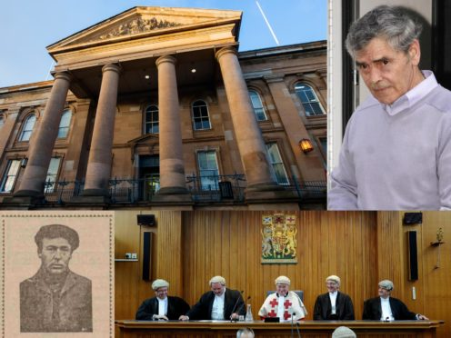 Clockwise from top left - Dundee's court building, Peter Tobin, Peter Tobin, the last Dundee High Court sitting, Charles White