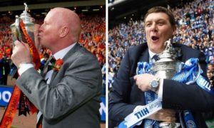Dundee United's Scottish Cup-winning manager Peter Houston (left) and St Johnstone's 2014 hero Tommy Wright.
